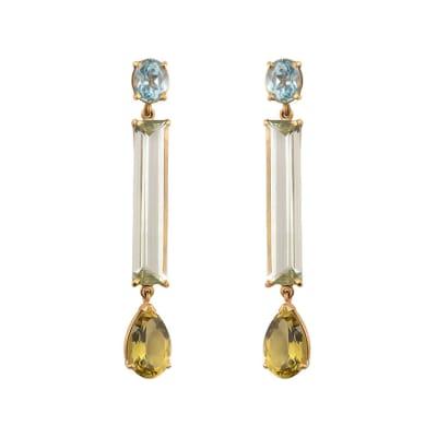 Long Drop Aquamaringe & Heliodor  Earrings image