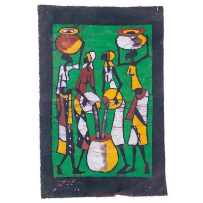 Batik Wall Hanging Green with 4 Women Drawing Water image
