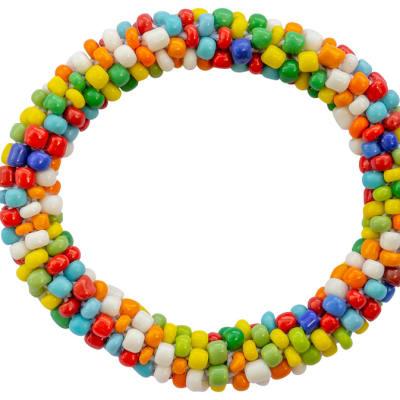Bracelet Beaded  Blue Yellow Green White Beads image