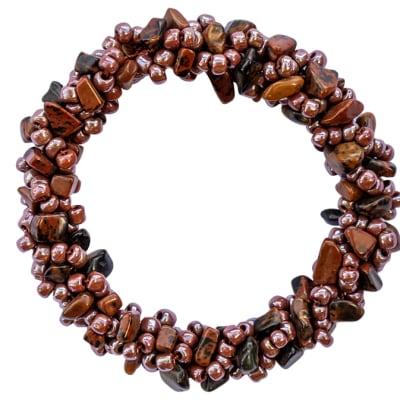 Bracelet Beaded  Glazed Brown Assorted Shapes image