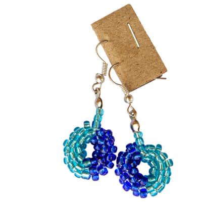 Beaded Earrings Dangly Earrings for Women  Blue & Light  Blue Glass Beads image