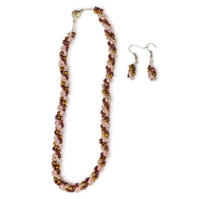 Necklace and Earings Beaded Golden & Crystal White  Beads image