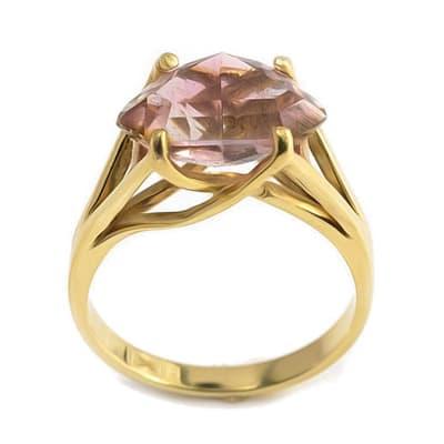 Yellow Gold Bi-Colour Tourmaline  Ring image