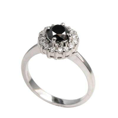 White Gold Black Diamond  Classic Ring  image