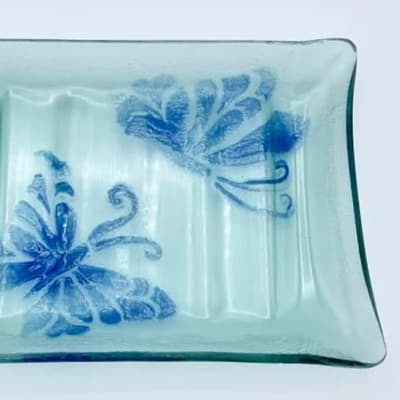Blue ribbed Glass Soap dish with butterflies image