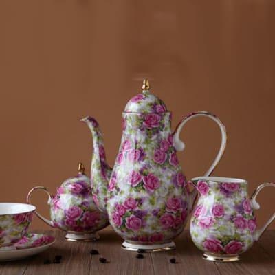 Bone china coffee set pink rose flower European tea set - 1100032103 image