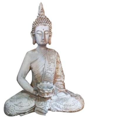 Buddha Statue White Clay image