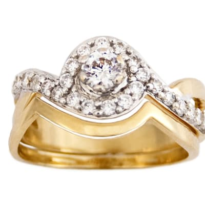 Bypass Frame Gold Wedding Ring  image