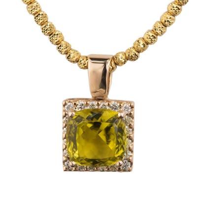 Rose Gold Tourmaline & Canary Diamonds Pendant  image