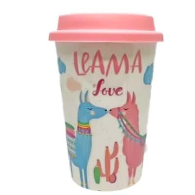 Ceramic Mug Cup With Lid - Llama Love image