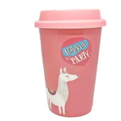 Ceramic Mug Cup With Lid - Llama Party image