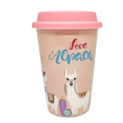 Ceramic Mug Cup With Lid - Love Lama image