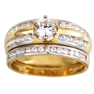 Row Channel Set  Gold Wedding Ring image