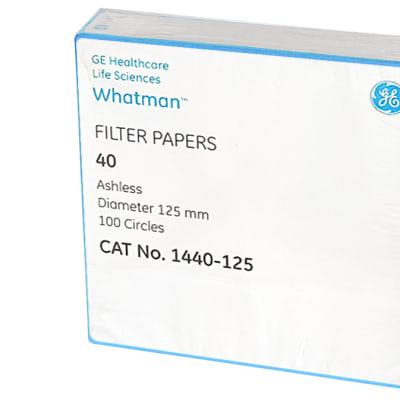 Whatman® Filter Papers 40  Ashless  Diameter 125mm  100 Circles image