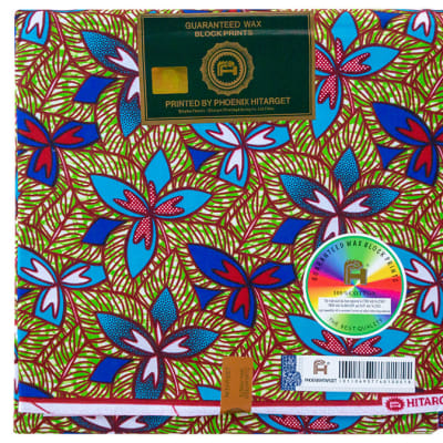 African Prints  Chitenge Material  Tri Leaf and Flower Blue Green & Red Pattern image