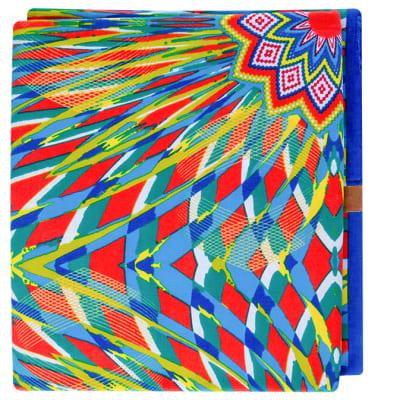 African Prints  Chitenge Material Orange Green Blue Yellow Symmetrical Pattern image