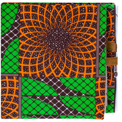 African Prints  Chitenge Material  Green with Orange Symmetric Flowers Pattern image