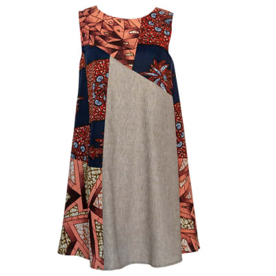 Casual Dresses Chitenge and Linen Swing Dress with Pockets  image
