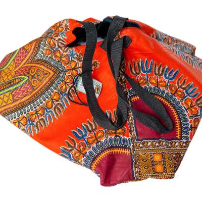 Chitenge Pyramid Bags with Orange Patterns image