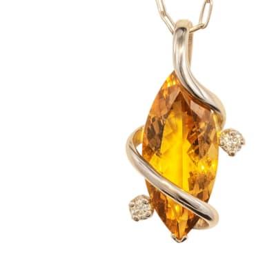 White Gold Citrine & Diamonds Marquise Pendant image
