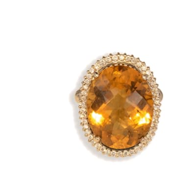 White Gold Citrine  Oval Ring  image