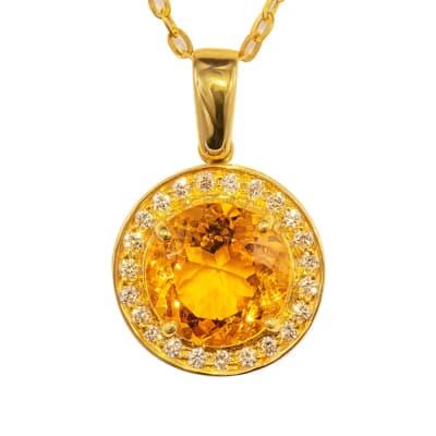 Yellow Gold Citrine & Diamonds Circle Pave Pendant image