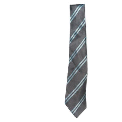 Gray with Light Blue Stripes Neck Tie  image