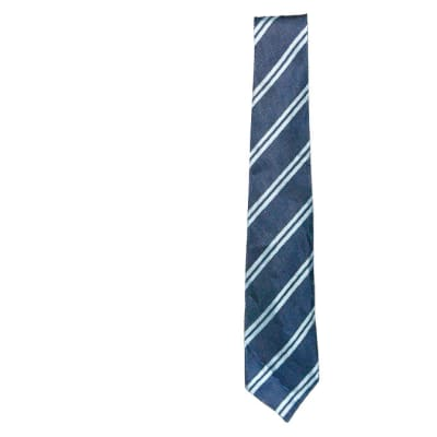 Navy Blue with White Stripes Neck Tie  image