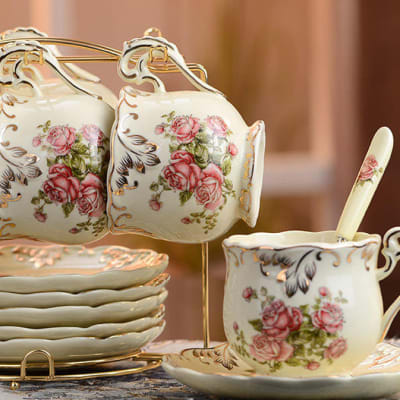 Coffee cup set creative hand-painted gold ceramic - 1721406330 image