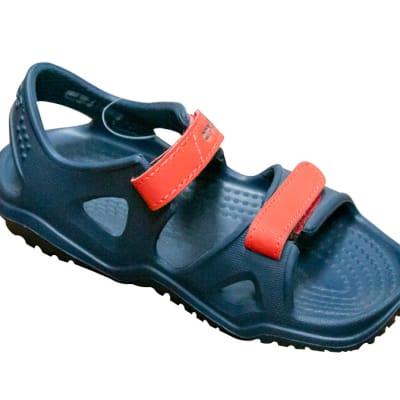 Crocs Black Sandals with orange straps image