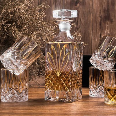 Crystal Glass Creative Whiskey Cup Persian Style - Crystal Gold image