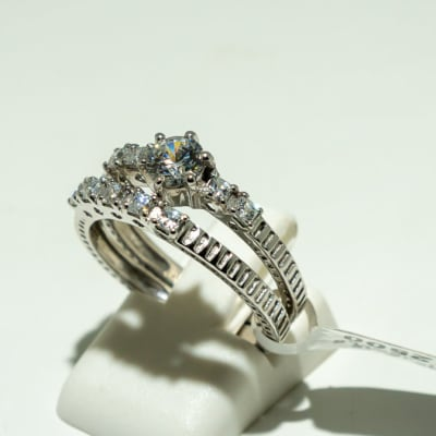 Silver wedding set and swarovski crystals two band ring image