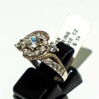 Silver engagement ring, tension clasp of crystals  image