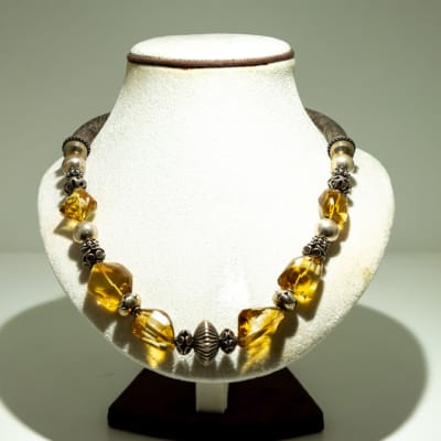 Silver and citrine large stone necklace image
