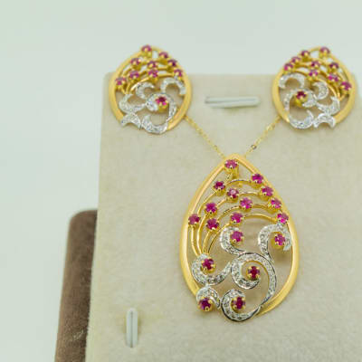 Yellow gold 14k pendant and earring set of diamond and pink sapphire  image