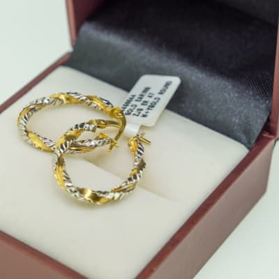 Yellow gold 18k twisted loop earrings image