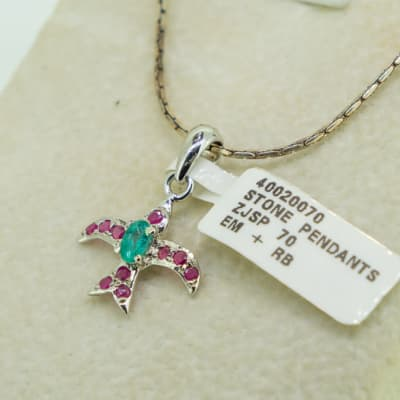 Silver, white gold plated, emerald and ruby dove pendant image