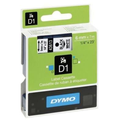 Label Cassette Dymo D1 6mm Ribbon  Black/White image