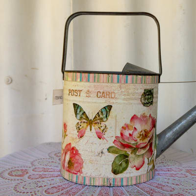Enamel Watering Can with floral and butterfly print image