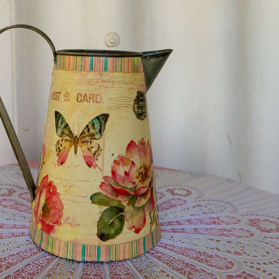 Enamel Watering Jug with floral and butterfly print image