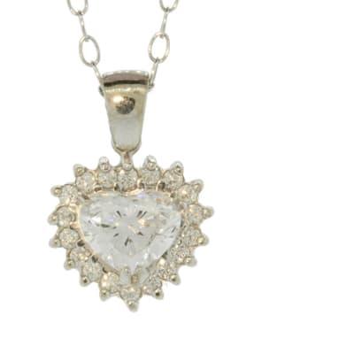 White Gold Diamond  Heart Pendant image