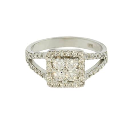 White Gold Diamond  Pave Split Shank Ring  image
