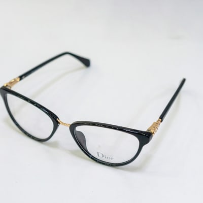 Dior Full Rim Round Eyeglass Frames - Black & Gold image