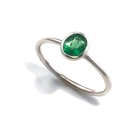White Gold Emerald  Bezel Ring  image