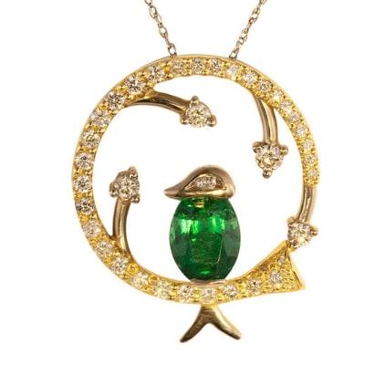 Yellow Gold Emerald  Birdcage Pendant  image