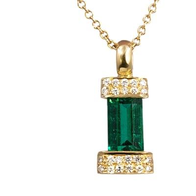 Yellow Gold Emerald  Bracket Pendant  image