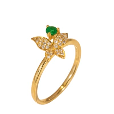 Yellow Gold Emerald & Diamonds  Butterfly Ring image