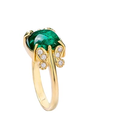 Yellow Gold Emerald  Butterfly Shoulder Ring  image