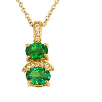 Yellow Gold Emerald  Cage & Pave Pendant image