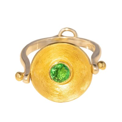 Yellow Gold Emerald  Calabash Ring & Pendant image